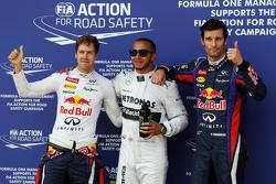 Sebastian Vettel (GER) Red Bull Racing, second; Lewis Hamilton (GBR) Mercedes AMG F1, pole position; Mark Webber (AUS) Red Bull Racing, third. 06.07.2013. Formula 1 World Championship, Rd 9, German Grand Prix, Nurburgring, Germany, Qualifying Day.